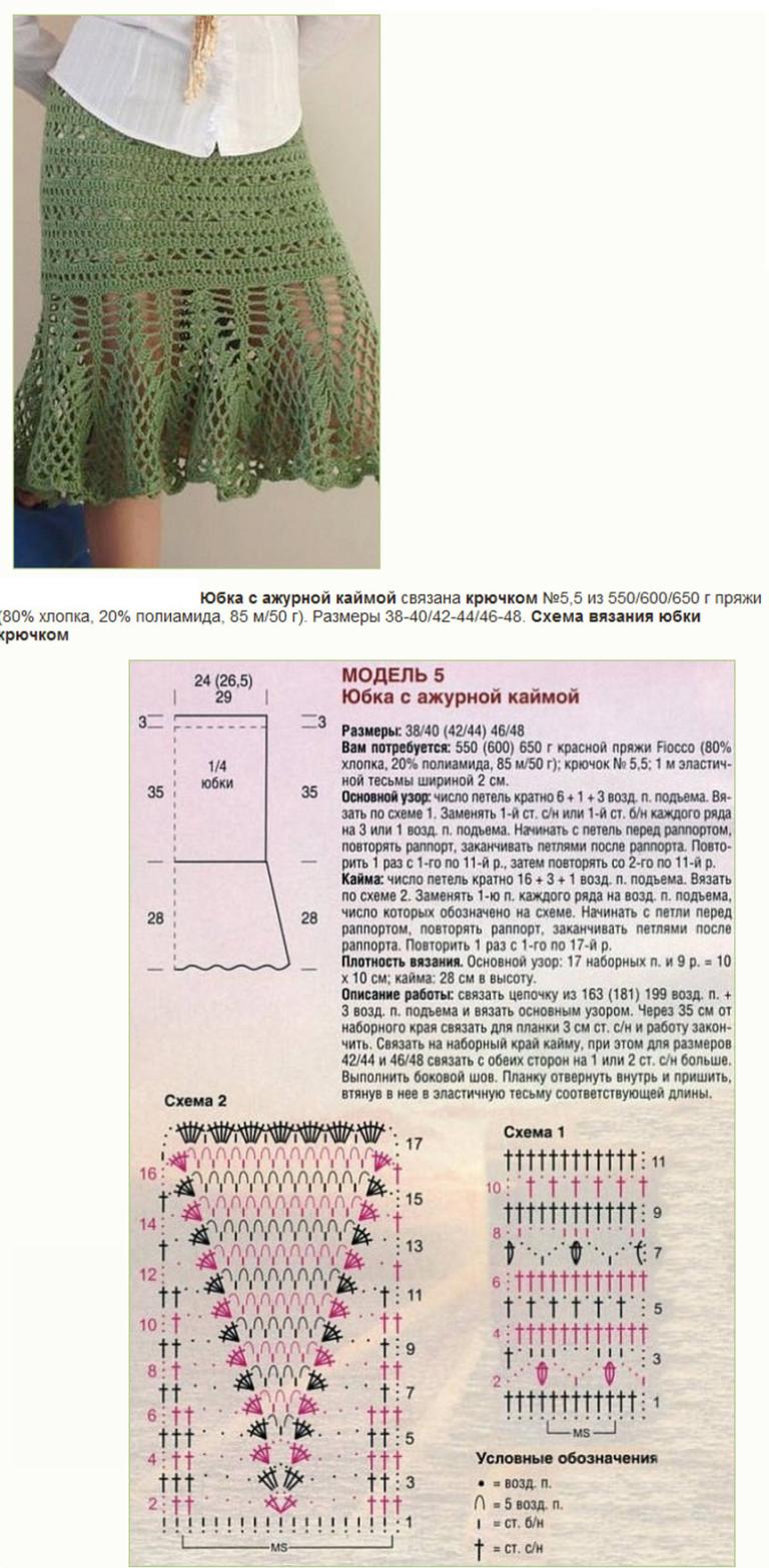Ажурная юбка крючком фото и схема