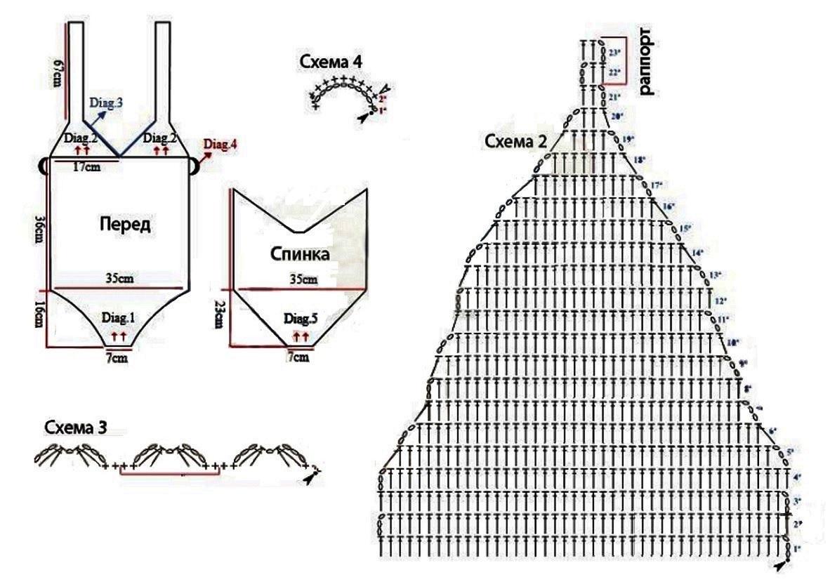 купальник крючком схема и описание 19 моделей
