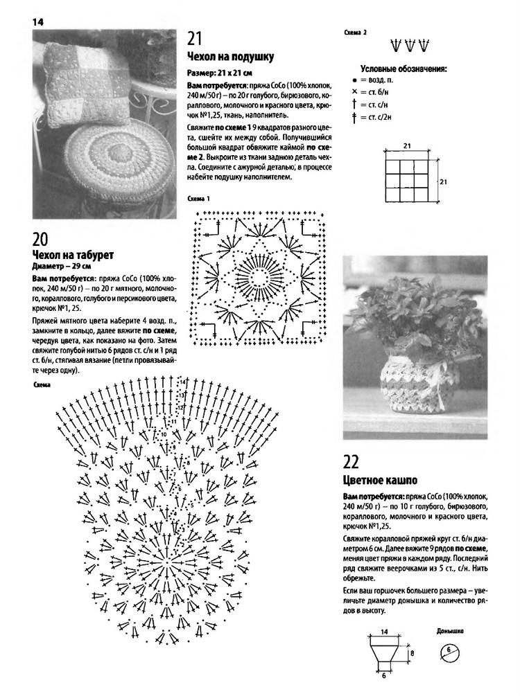 Накидки на табурет крючком схемы вязания 46