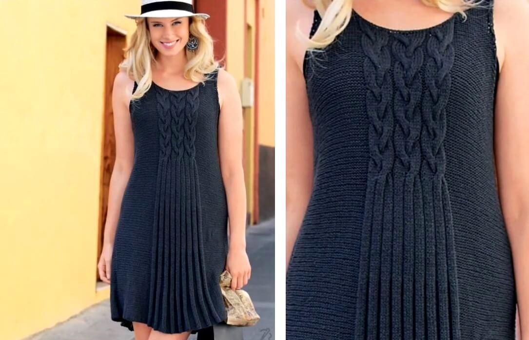 2 модели летних платьев с узором выполненных спицами