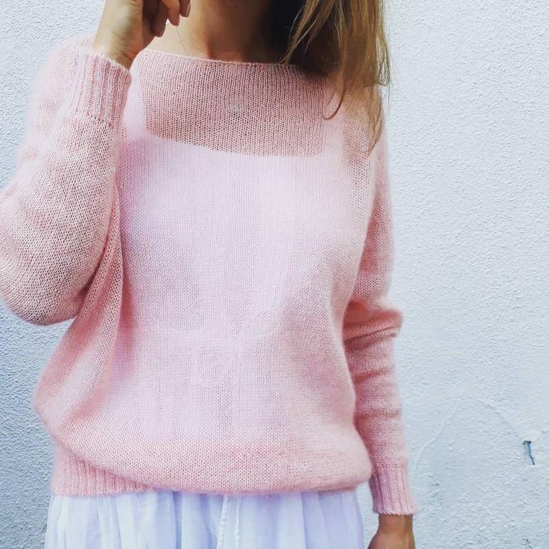 Джемпер из мохера розовый