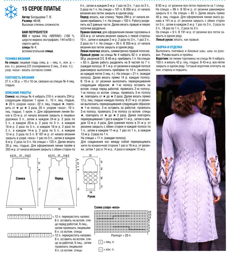 Вязание красивых платьев спицами