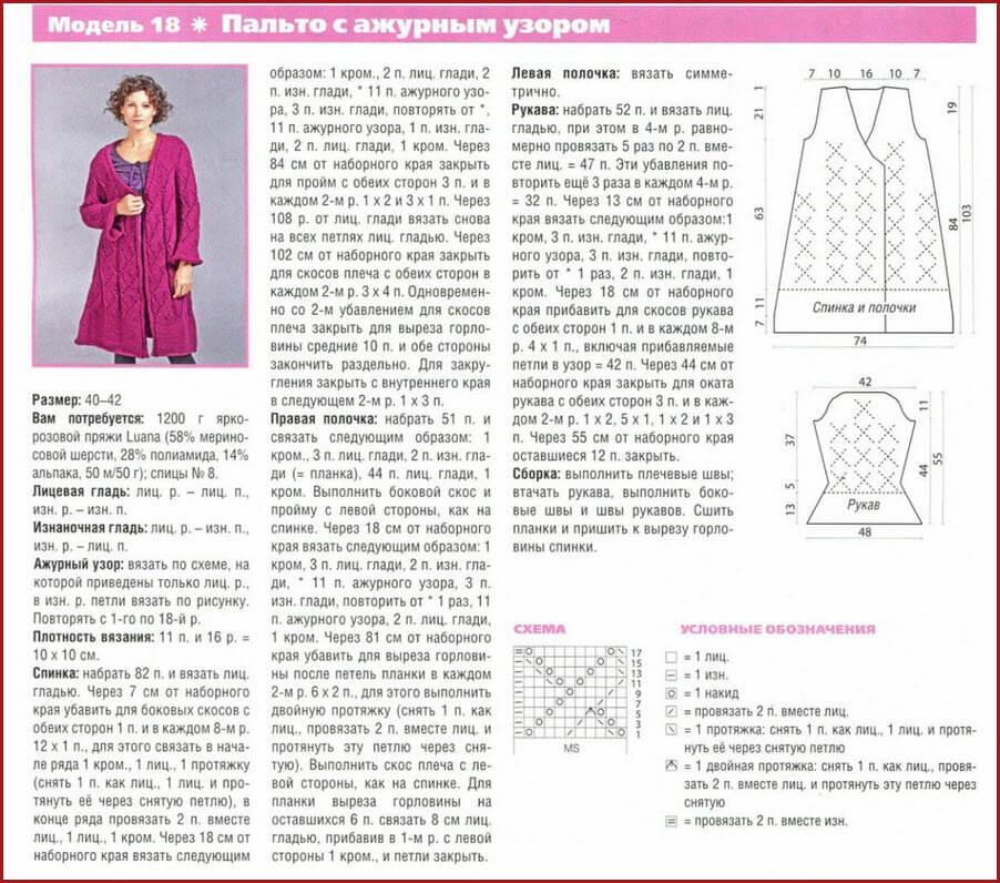 женское вязаное пальто спицами 3