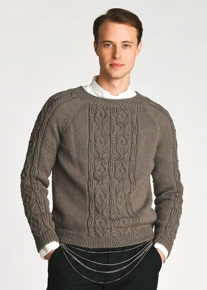 классический мужской пуловер спицами