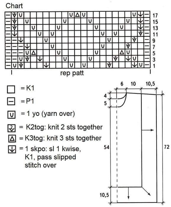 Туника с ажурным узором схема узора