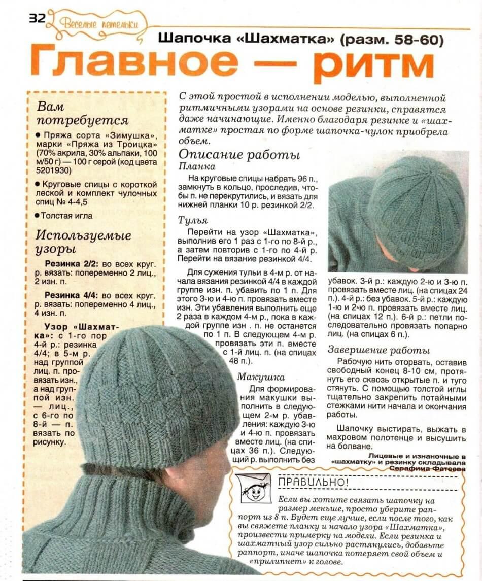Мужская шапка схема 1