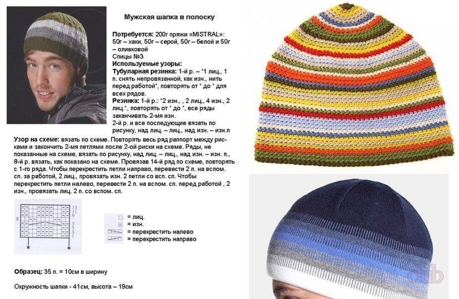 Мужская шапка схема 4