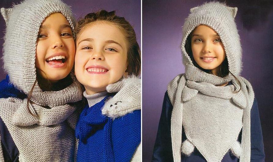Комплект «Котёнок»: детские шапка, шарф и варежки спицами