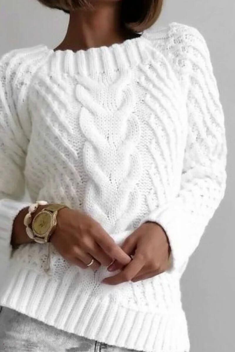 Шикарный пуловер с косами и аранами